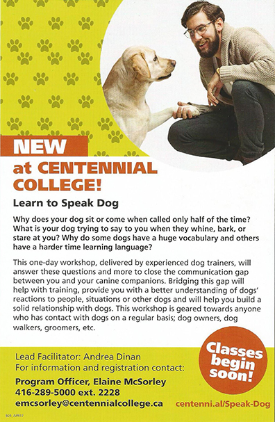 NEW at Centennial Collage - Learn to Speak Dog
